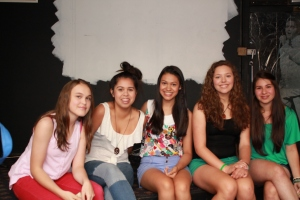 Tara and her friends, actors Hannah, Mashara, Devaki, Korey and Bec ready for music shop scene In 'My Husband'